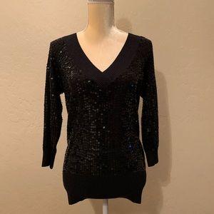 Bebe black sequined v-neck sweater w/open back